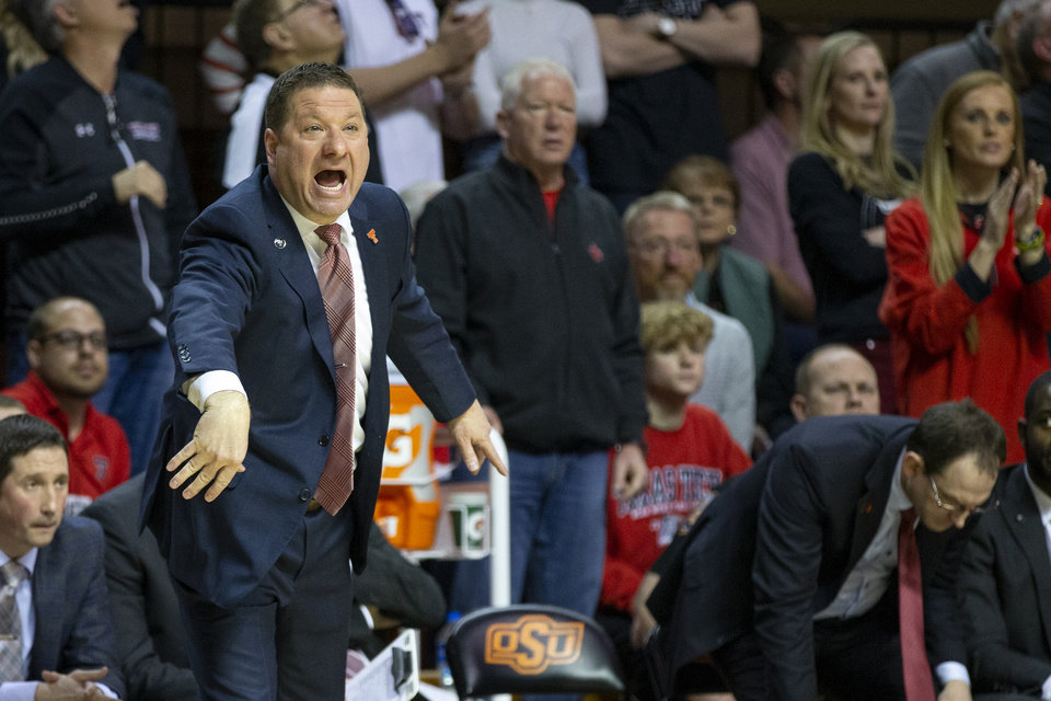 Photo - Texas Tech head coach Chris Beard yells from the bench during an NCAA college basketball game against Oklahoma State in Stillwater, Okla., Saturday, Feb. 15, 2020. (AP Photo/Mitch Alcala)