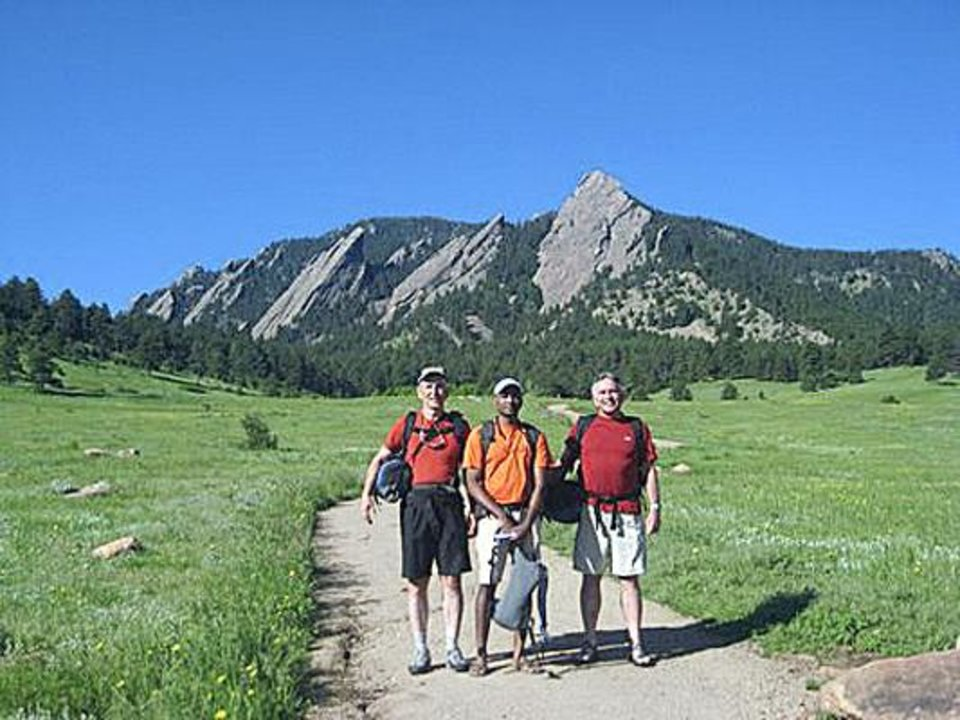 Harry Woods, Srin Surapanani and Bruce W. Day at the base of the trail to the first Flatiron. Photo Provided