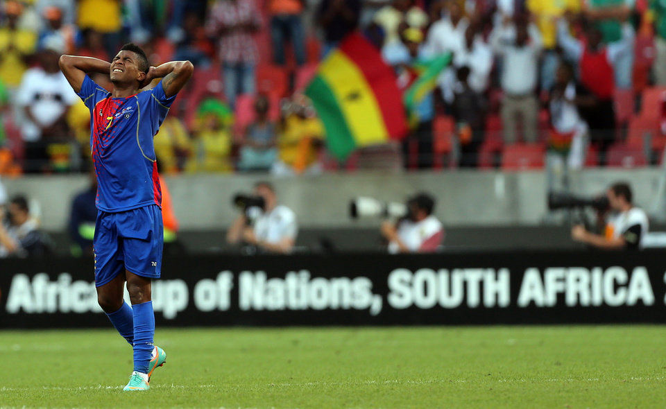 "Cape Verde's Luis ""Platini"" Soares reacts after Ghana's Wakaso Mubarak, unseen, scored his second goal during their quarter final African Cup of Nations soccer match at the Nelson Mandela Bay Stadium in Port Elizabeth, South Africa, Saturday Feb. 2, 2013. (AP Photo/Themba Hadebe)"
