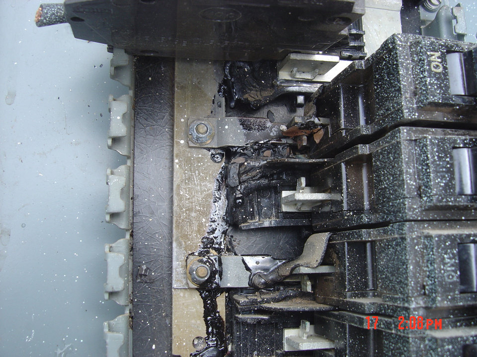 Burned electrical panel found during electrical safety inspection.<br/><b>Community Photo By:</b> True Tech Electric<br/><b>Submitted By:</b> Nicole, Midwest