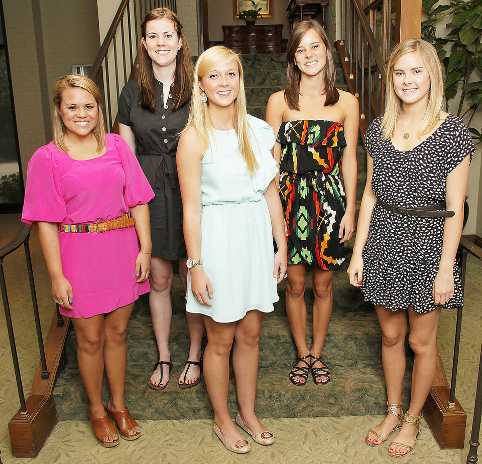 From left, Beaux Arts Debutantes Cameron Collins, Kendall Hall, Abbey Akin, Bailey Self and Kacie Webb pose for a photo at Oklahoma City Golf and Country Club in Nichols Hills, Okla., Wednesday, May 23, 2012. Photo by Nate Billings, The Oklahoman