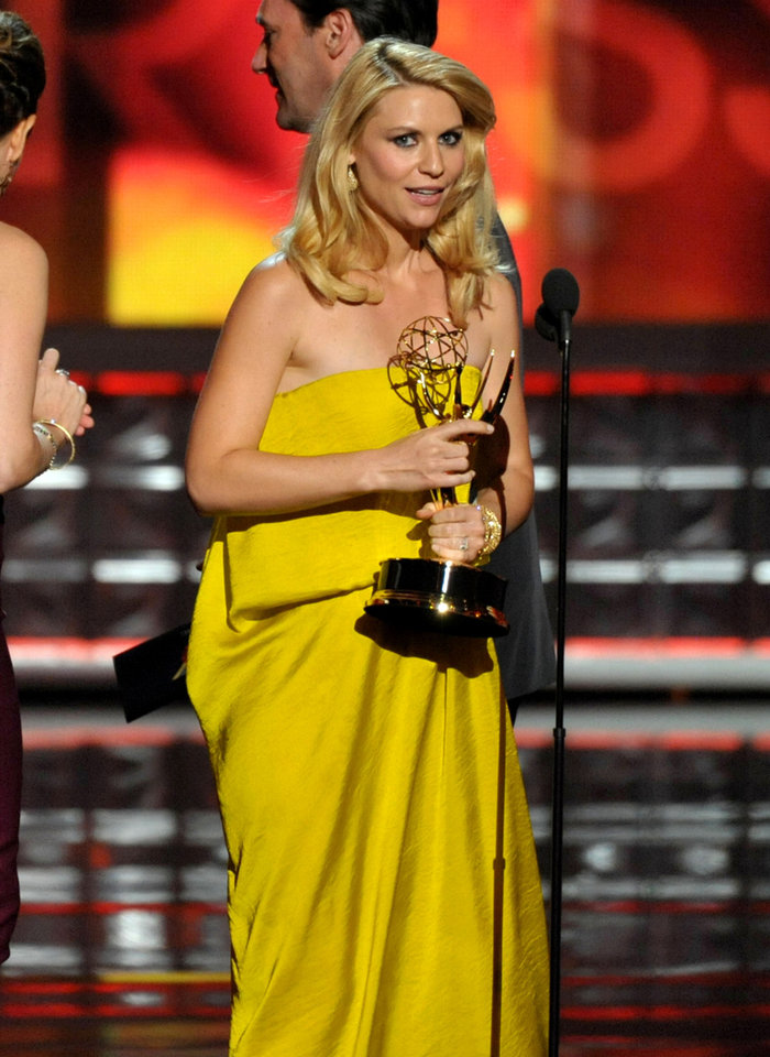 Photo -   Claire Danes accepts the award for outstanding lead actress in a drama series for