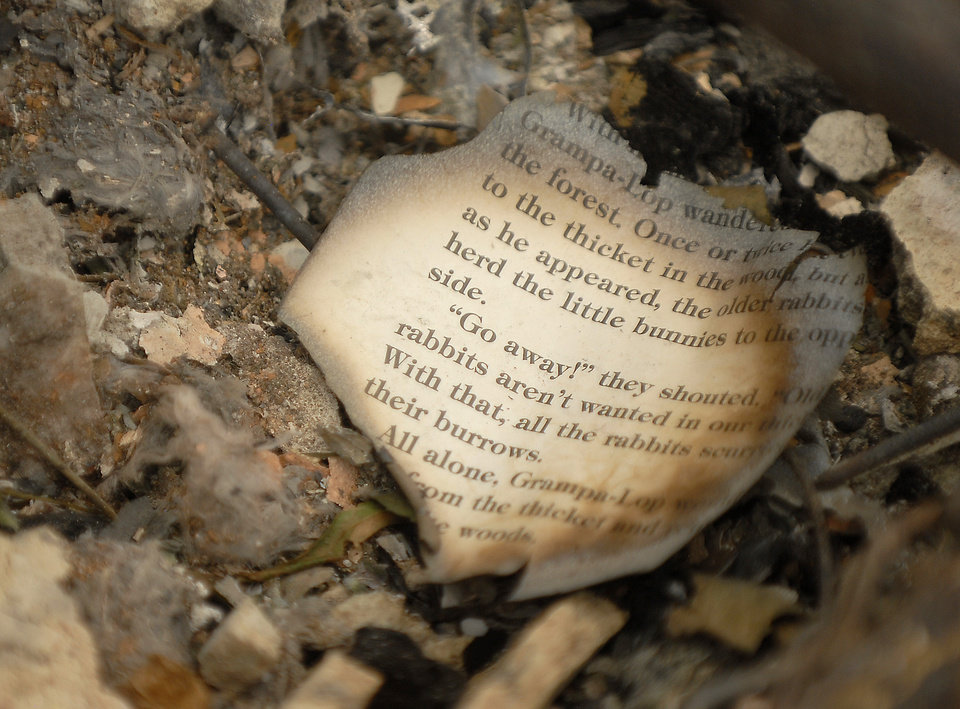 Photo - A burnt page from a book rests in the foundation of a home destroyed by the Waldo Canyon Fire in the Mountain Shadows neighborhood of Colorado Springs, Colo., on Monday, July 2, 2012. So far, the blaze, now 45 percent contained, has damaged or destroyed nearly 350 homes. (AP Photo/Bryan Oller) ORG XMIT: COBO113