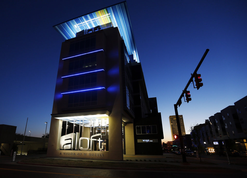 Photo -  The Aloft Hotel at NE 2 and Walnut is seen in Oklahoma City on April 14. Photo by Nate Billings, The Oklahoman   NATE BILLINGS