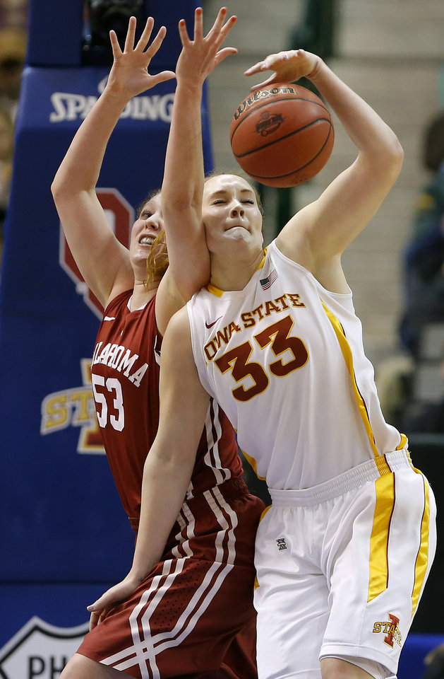 Photo - Oklahoma's Joanna McFarland (53) defends Iowa State's Chelsea Poppens (33) during the Big 12 tournament women's college basketball game between the University of Oklahoma and Iowa State University at American Airlines Arena in Dallas, Sunday, March 10, 2012.  Photo by Bryan Terry, The Oklahoman