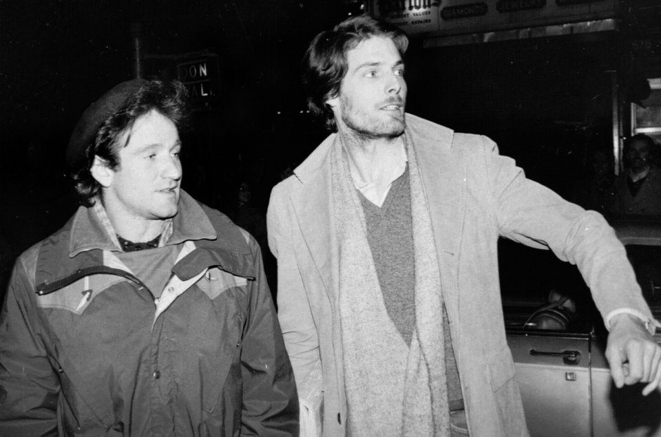 "Photo - ** FILE ** Robin Williams, left, and Christopher Reeve, attempt to hail a taxi cab in New York in this Feb. 9, 1981 file photo. Reeve, the star of  the ""Superman"" movies whose near fatal riding accident nine years ago turned him into a worldwide advocate for spinal cord research, died Sunday Oct. 10, 2004 of heart failure, his publicists said. He was 52.  (AP Photo/Steve Sands, File)"