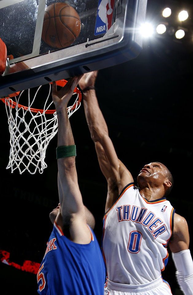 Oklahoma City\'s Russell Westbrook (0) defends against New YorK\'s Jason Kidd (5) during NBA basketball game between the Oklahoma City Thunder and the New York Knicks at the Chesapeake Energy Arena, Sunday, April 7, 2010, in Oklahoma City. Photo by Sarah Phipps, The Oklahoman