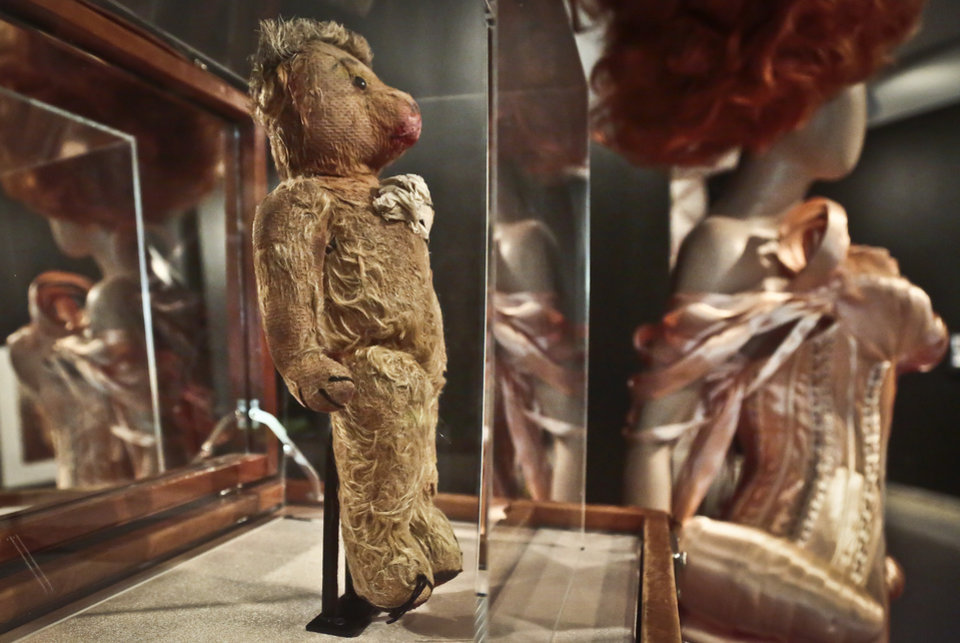 Photo - A childhood teddy bear designer Jean Paul Gaultier used as his first model, is previewed during the installation of Brooklyn Museum's