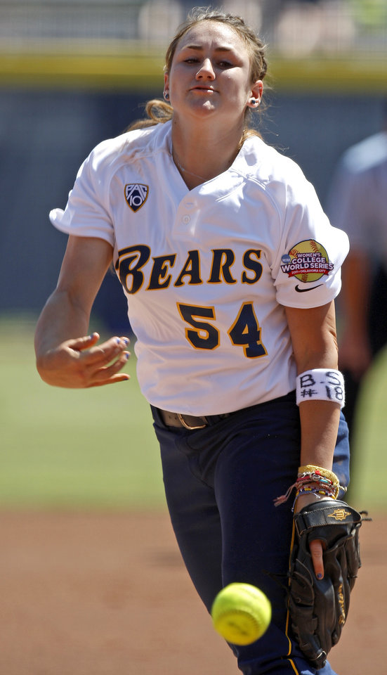 Photo - California's Jolene Henderson (54) pitches during a Women's College World Series softball game between Oklahoma State University and California at ASA Hall of Fame Stadium in Oklahoma City, Saturday, June 4, 2011. Photo by Bryan Terry, The Oklahoman