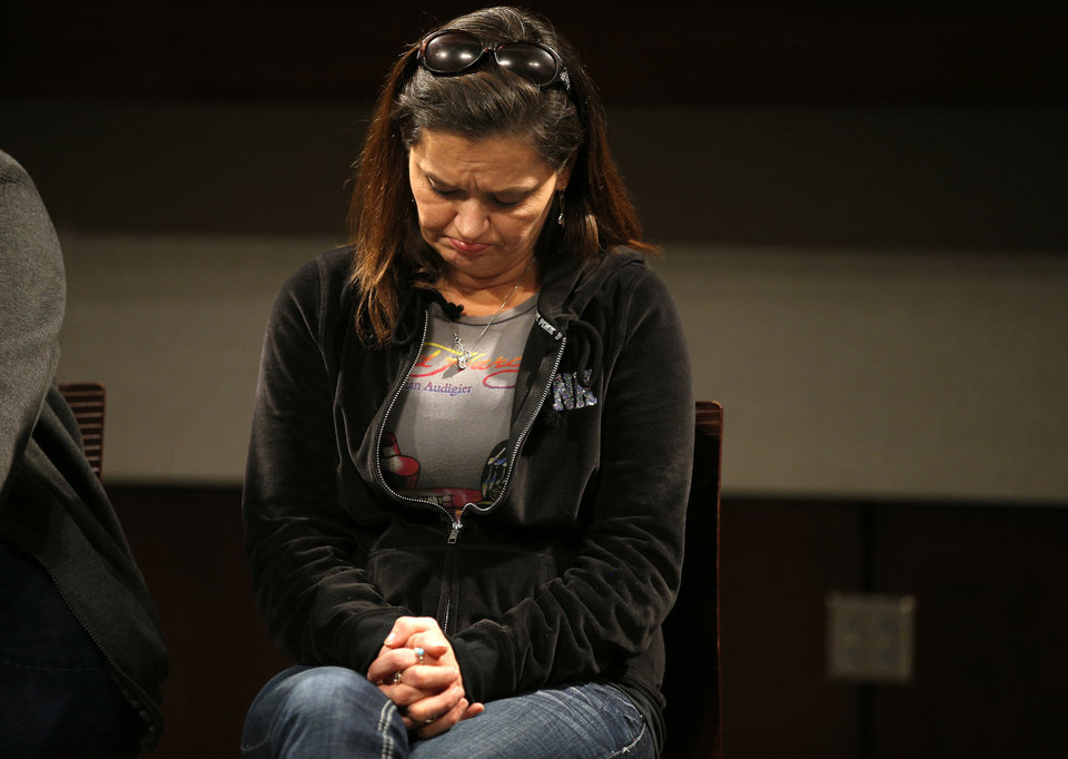 Photo - Holly Wethington sits during a press conference about the skydiving accident that badly injured her daughter Makenzie, 16, of Joshua, Texas, at the OU Medical Center in Oklahoma City, Tuesday, Jan., 28, 2013. Makenzie and her father, Joe, traveled from Joshua, Texas, to Chickasha, Okla., on Saturday to skydive. Photo by Bryan Terry, The Oklahoman