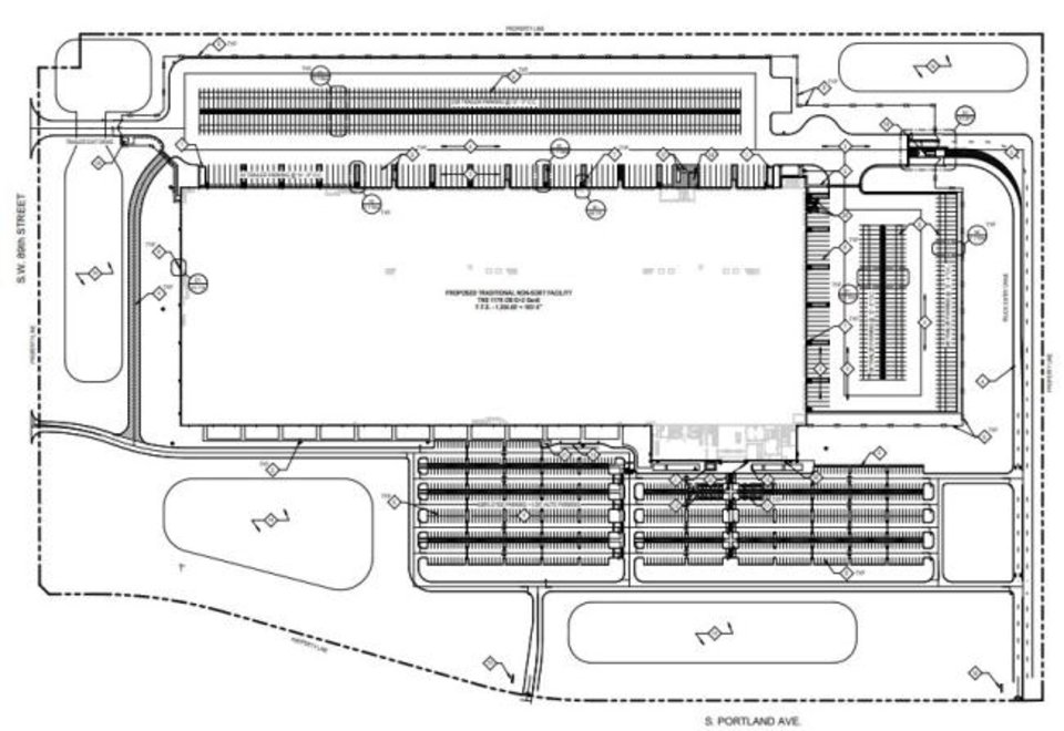 Photo -  Building permits have been filed with Oklahoma City showing plans for a 1 million square foot facility to be built just north of the company's' fulfillment center at SW 89 and Portland Avenue.