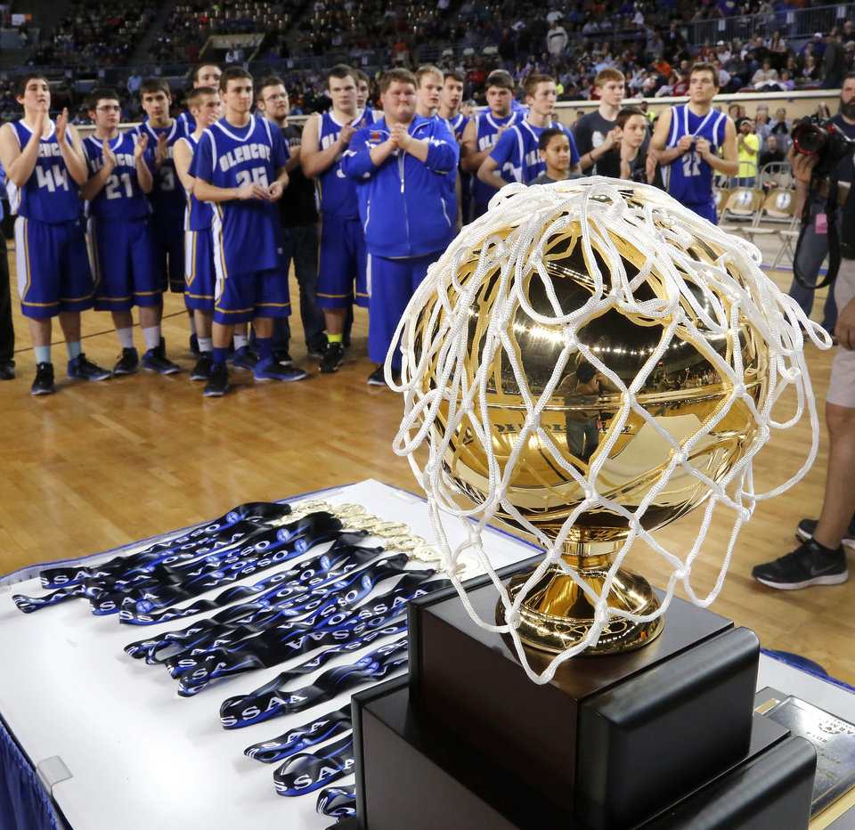 Photo - Glencoe players wait to receive their championship medals and trophy after their win over Kiowa, 57-39,  in the Class A boys high school basketball championship game in the Jim Norick Arena at State Fair Park on  Saturday, March 8, 2014. Photo by Jim Beckel, The Oklahoman