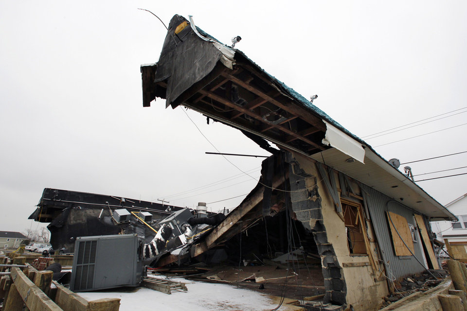 Photo - Heavily damaged by Superstrom Sandy, Jakeabob's Bay restaurant is seen Tuesday, Feb. 5, 2013, in Union Beach, N.J. New Jersey Gov. Christie told a gathering in Union Beach Tuesday that the National Flood Insurance Program's handling of claims in New Jersey