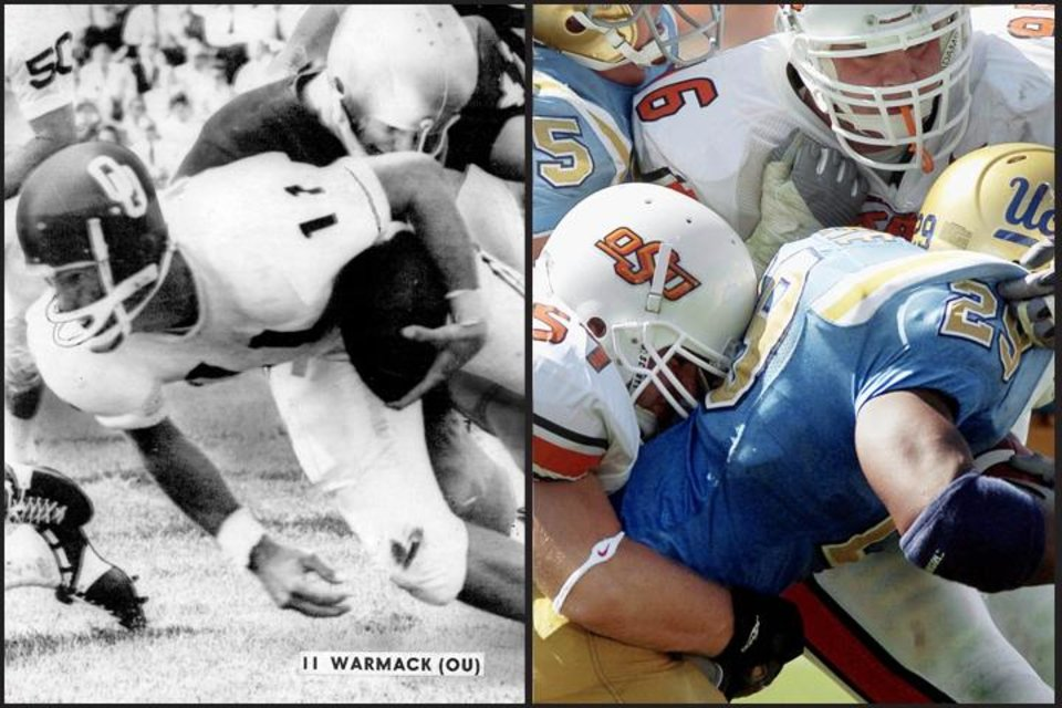 <b>Left:</b> OU QB Bob Warmack vs. Notre Dame, 1968; <b>Right: </b>OSU vs. UCLA, 2004 (Oklahoman archive photos)