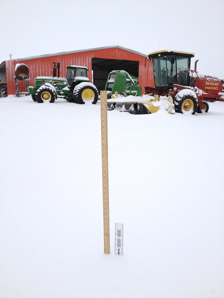 Photo - Six inches of snow near Delhi, OK. User submitted.