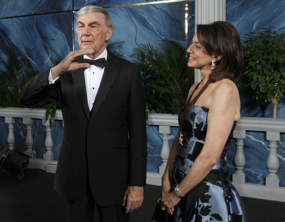 Sam Donaldson talks with Cathy Keating  before the 84th Annual Oklahoma Hall of Fame at the Cox Convention Center in Oklahoma City,  Thursday, Nov. 17, 2011.  Photo by Sarah Phipps, The Oklahoman