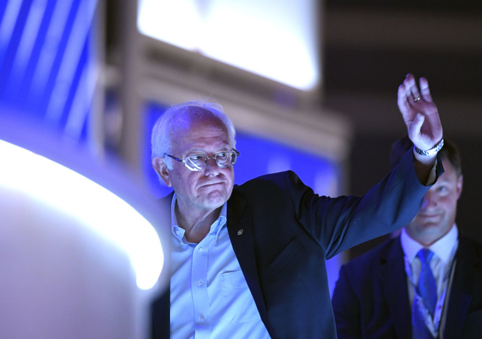 Photo - Former Democratic presidential candidate Sen. Bernie Sanders, I-Vt., waves as he tours the Wells Fargo Center during the first day of the Democratic National Convention in Philadelphia , Monday, July 25, 2016. (AP Photo/Mark J. Terrill)