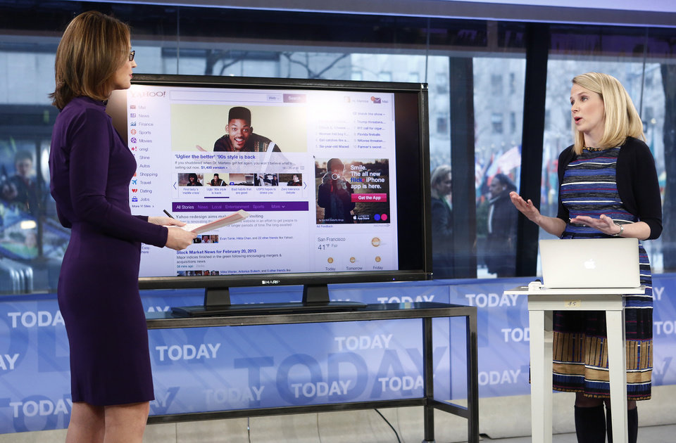 This image released by NBC shows host Savannah Guthrie, left, with Yahoo CEO Marissa Mayer on NBC News\'