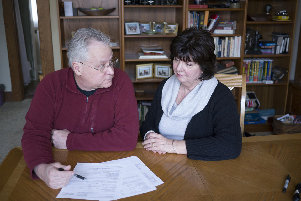 Photo -  John and Nancy Marshall, of El Reno, discuss health care options. Photo provided    -