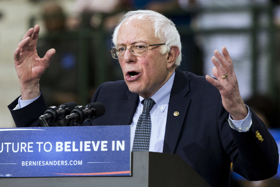 Photo -  Sen. Bernie Sanders, I-Vt., speaks during a campaign rally Thursday at Chicago State University in Chicago. [AP PHOTOS]