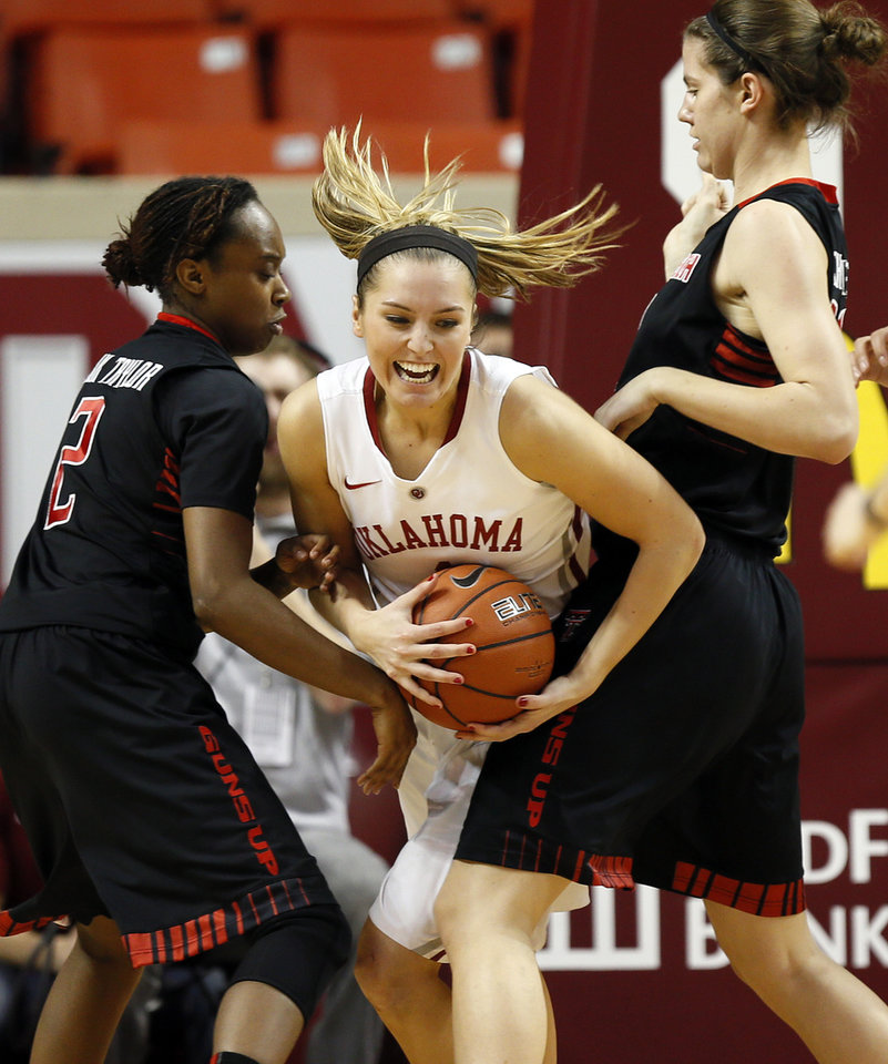 Photo - Oklahoma's Nicole Kornet (1) tries to move between Texas Tech's Ivonne CookTaylor (2), left, and Haley Schneider (31)  during a women's college basketball game between the Oklahoma Sooners and Texas Tech at Lloyd Noble Center in Norman, Okla., Monday, March 3, 2014. OU won 87-32. Photo by Nate Billings, The Oklahoman