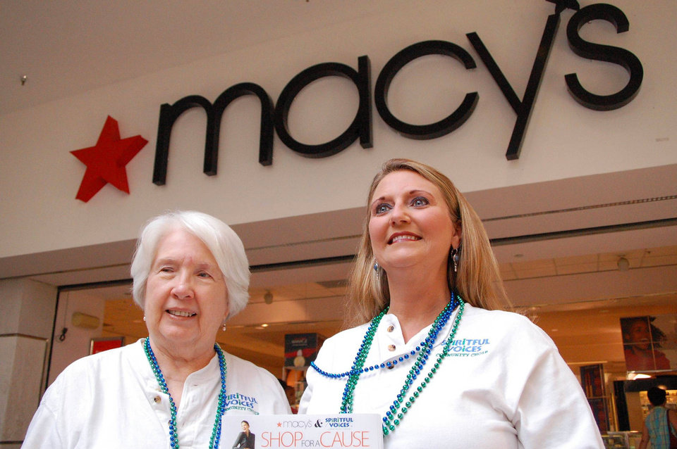 "Barbara Van Laanen and Susan D. Nyte, volunteer singers with Spiritful Voices Community Choir, greet customers at Saturday�s Grand Opening of Macy�s Department Store in Penn Square Mall.  The group is selling tickets to Macy's ""Shop for a Cause"" event on Saturday, September 16.<br/><b>Community Photo By:</b> Sam P. Vladovich<br/><b>Submitted By:</b> Sam P., Oklahoma City"
