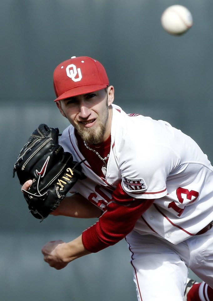 Dillon Overton pitches for the Sooners as the University of Oklahoma (OU) Sooners play Hofstra in NCAA college baseball at L. Dale Mitchell Field on Friday, Feb. 15, 2013  in Norman, Okla. Photo by Steve Sisney, The Oklahoman