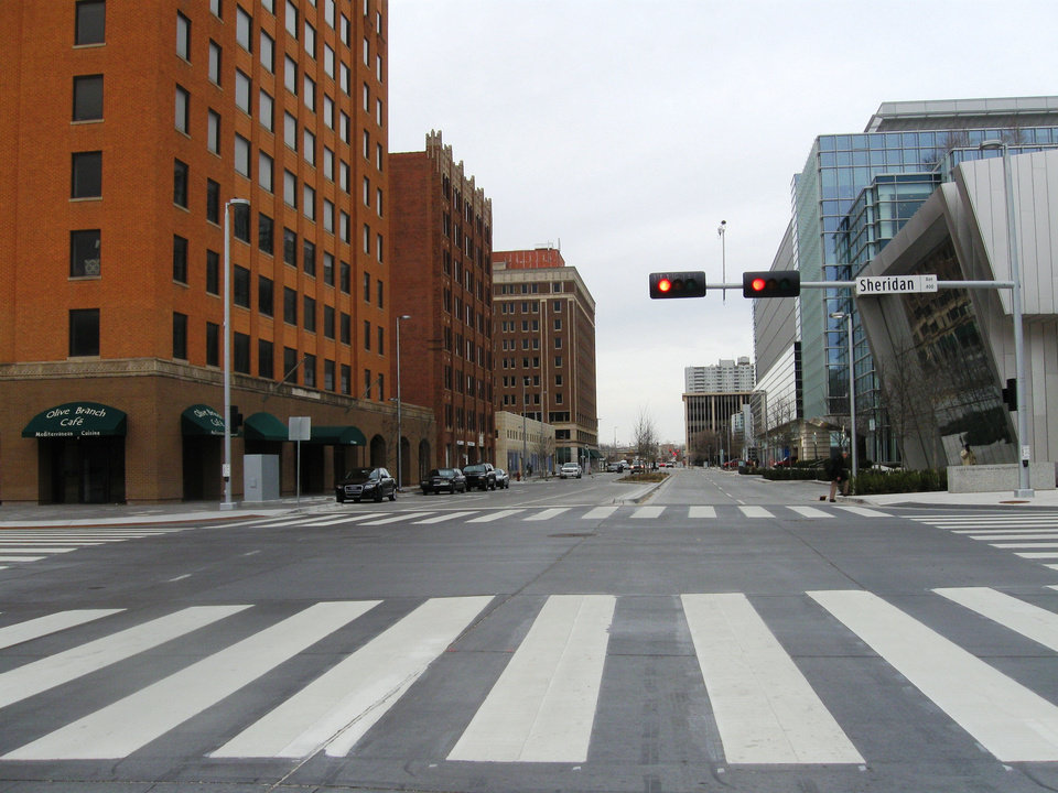 Hudson Avenue is now a two-way street with wide pedestrian crosswalks and traffic limited to two lanes in each direction. <strong>Steve Lackmeyer</strong>