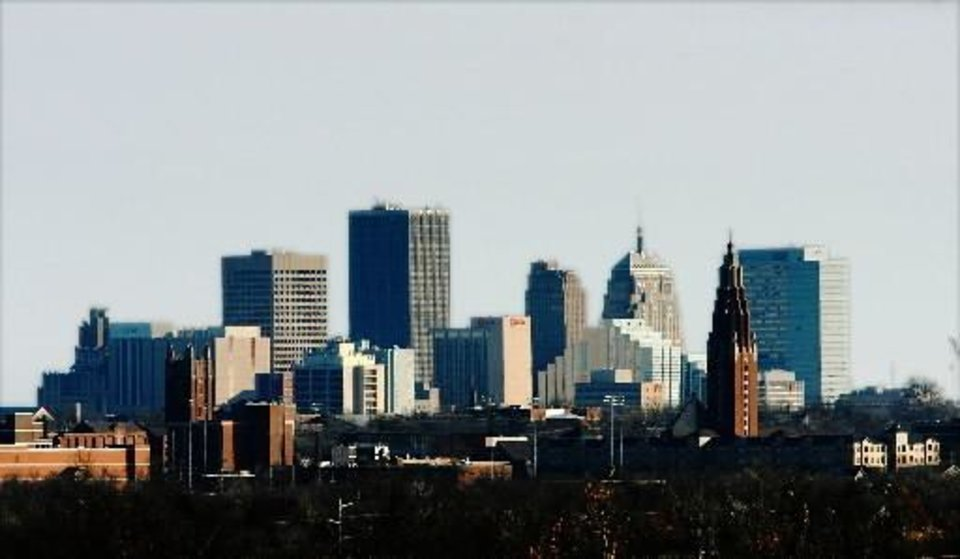 Oklahoma  City downtown  skyline as seen from Integris Baptist Hospital Wednesday, Dec. 2, 2009. Photo by Jim Beckel