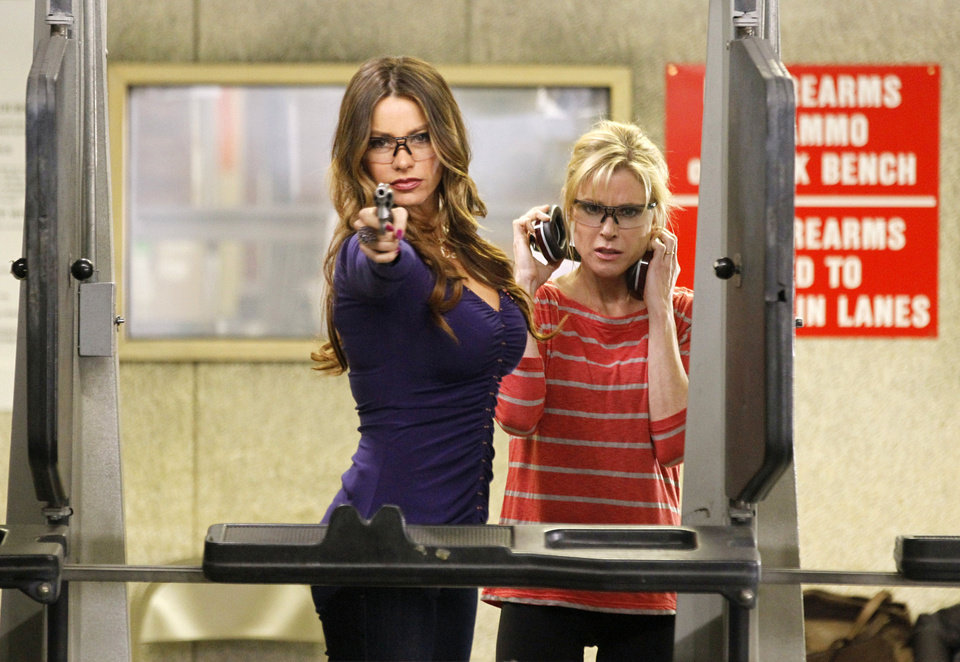 Photo - In this image released by ABC, Sofia Vergara, left, and Julie Bowen are shown in a scene from the comedy series