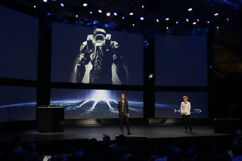 Photo - FILE - In this May 21, 2013 file photo, Nancy Tellem, right, the entertainment and digital media president of Microsoft, and Bonnie Ross, left, general manager and studio head of 343 Industries, announce a new Halo live-action TV series for Xbox Live, during an event to unveil the next-generation Xbox One entertainment and gaming console system, in Redmond, Wash. Master Chief is returning to the battlefield next year. Microsoft announced plans Friday, May 16, 2014, to release the video game sequel