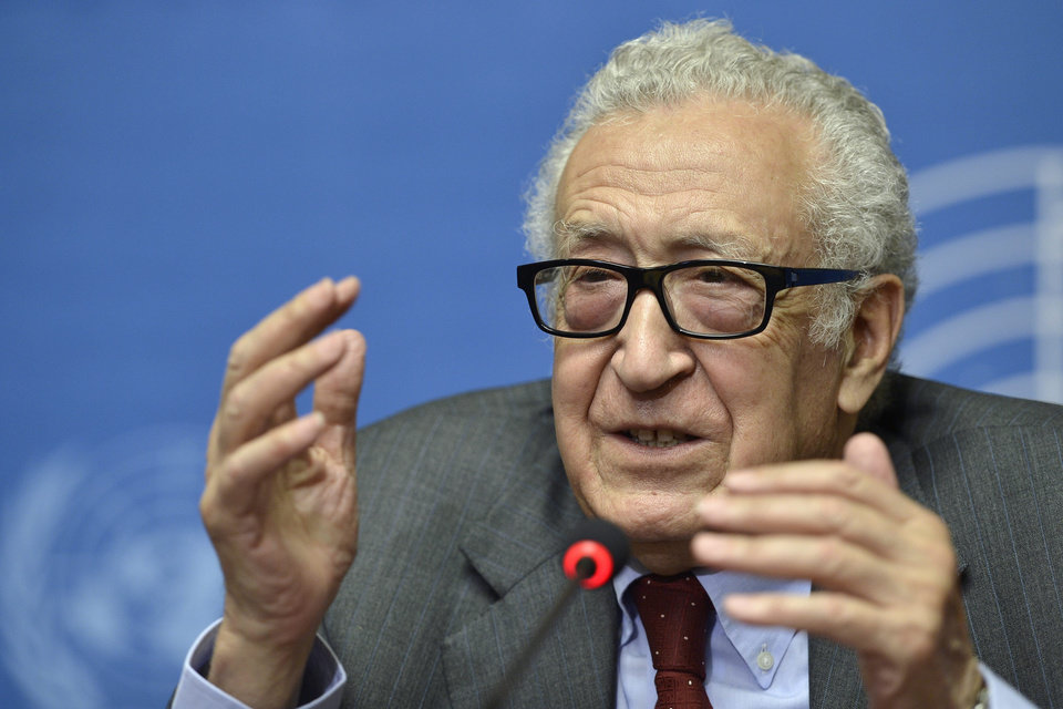 Photo - The UN Joint Special Representative for Syria Lakhdar Brahimi speaks on developments related to Syria during a press conference at the European headquarters of the United Nations in Geneva, Switzerland, Wednesday, Aug. 28, 2013. Evidence suggests that some kind of chemical