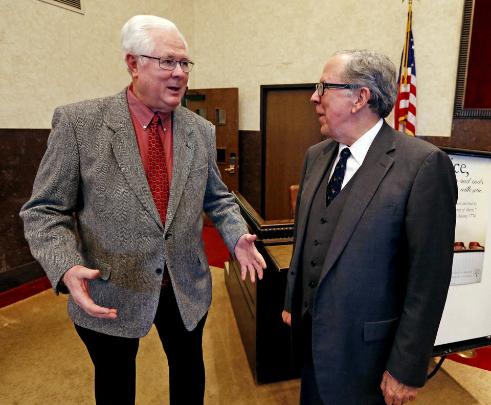 Photo -  Oklahoma Bar Association President Garvin Isaacs, right, speaks with former juror Jack Herron. [PHOTO BY STEVE SISNEY, THE OKLAHOMAN]