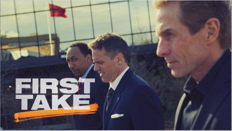 "Stephen A. Smith, Jay Crawford and Skip Bayless are regulars on ESPN2's ""First Take,"" 9-11 a.m. weekdays <strong>Mangino, Marissa - ESPN Images photo</strong>"