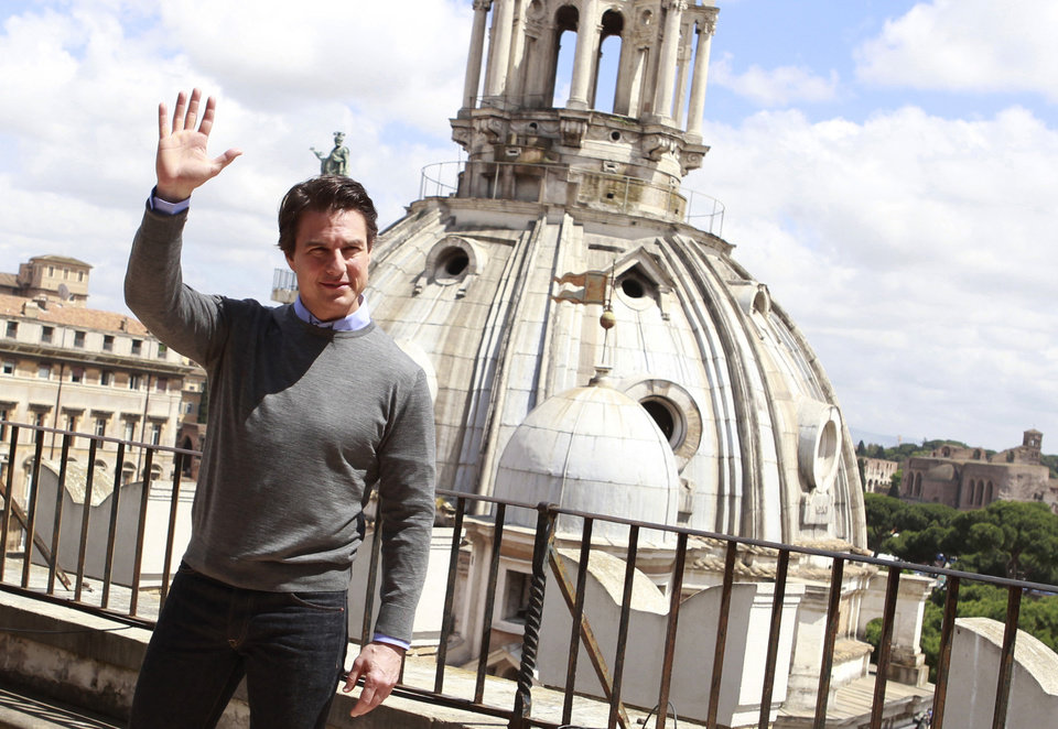 Photo - U.S. actor Tom Cruise poses to photographers during a photocall for his new film 'Edge of Tomorrow' in Rome, Tuesday, May 27, 2014. (AP Photo/Isabella Bonotto)