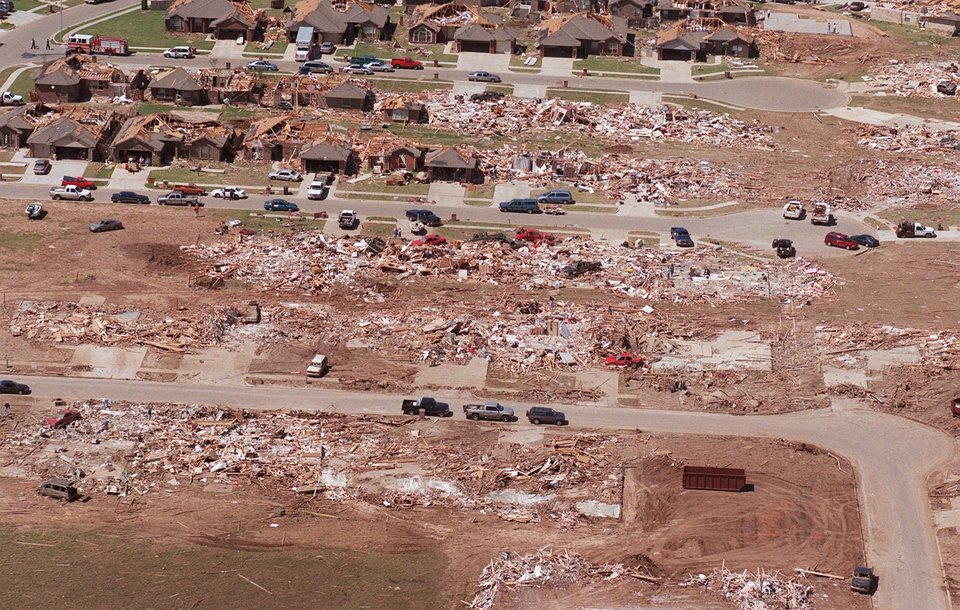 Tornado damage, aerial photos: Country Place Estates in S. OKC looking North.