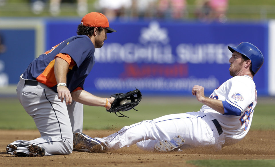 New York Mets\' Ike Davis, right, is safe at second for a stolen base as he slides under the tag of Houston Astros\' Brett Wallace during the first inning of a spring training baseball game Saturday, March 9, 2013, in Port St. Lucie, Fla. (AP Photo/Jeff Roberson)