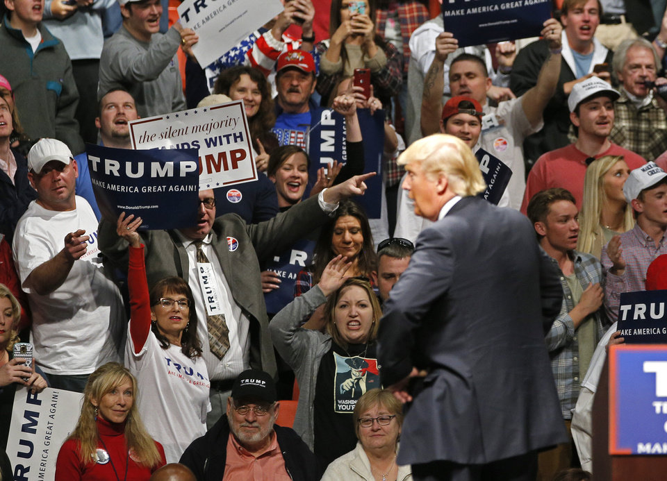 Photo - The crowd cheers as Republican presidential candidate Donald Trump speaks during a rally at the Cox Convention Center in Oklahoma City, Friday, Feb. 26, 2016. Photo by Bryan Terry, The Oklahoman