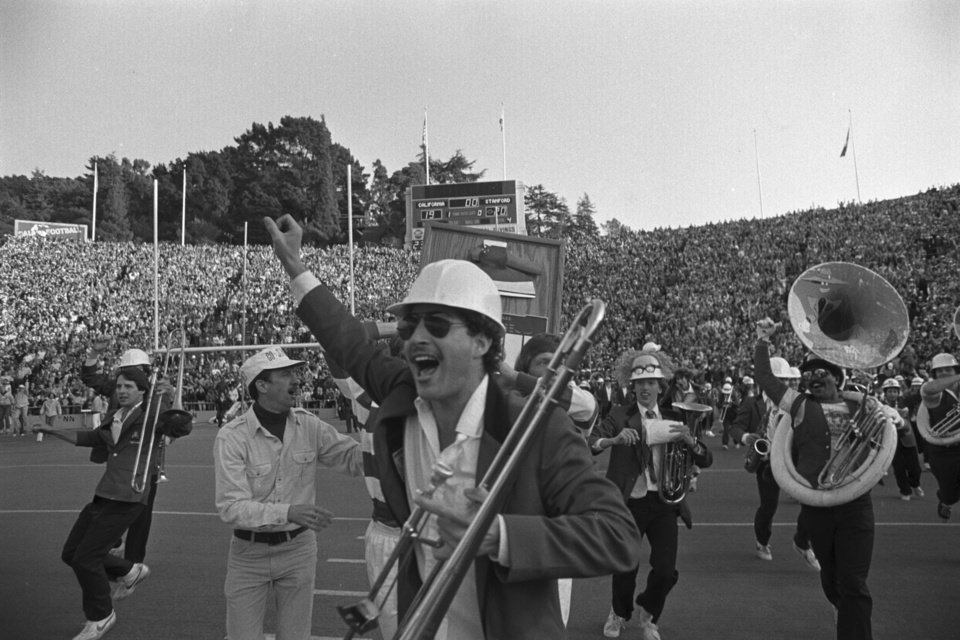 The Stanford band goes wild on the field at the end of the Cal-Stanford game in Berkeley, thinking they had won 20-19 with no time left, on Nov. 20, 1982. Little did they know that Cal's Kevin Moen weaved his way through hundreds of people, including the band, to score a touchdown after time had run out, giving Cal a 25-20 win. AP Photo