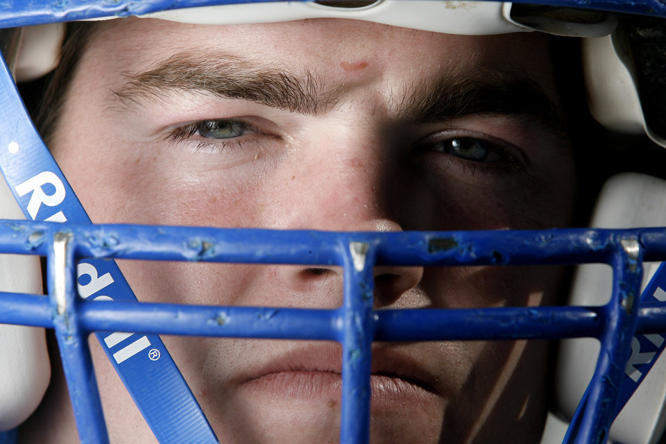 Photo - HIGH SCHOOL FOOTBALL PLAYER: Bluejay linebacker Justin Chappell poses for a photo Wednesday, October 24, 2007,  in Guthrie, Okla., at the Guthrie High School football practice facilities. Chappell battles a disease that spreads from his eyes through his muscles. In order to fight the disease, he takes eight pills a day before hitting the gridiron. By Sarah Phipps, The Oklahoman ORG XMIT: KOD
