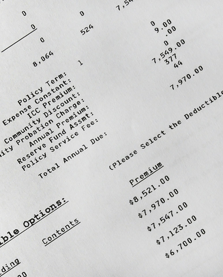 Photo - This detail of an insurance form shows the cost of flood insurance for Regina Bachman's home in Loveland, Ohio on Friday, March 21, 2014. After stretching her finances to buy a $95,000 home near a creek in September 2013, she was belatedly hit with an annual flood insurance bill of $7,900. The previous owner had paid under $700. (AP Photo/Al Behrman)