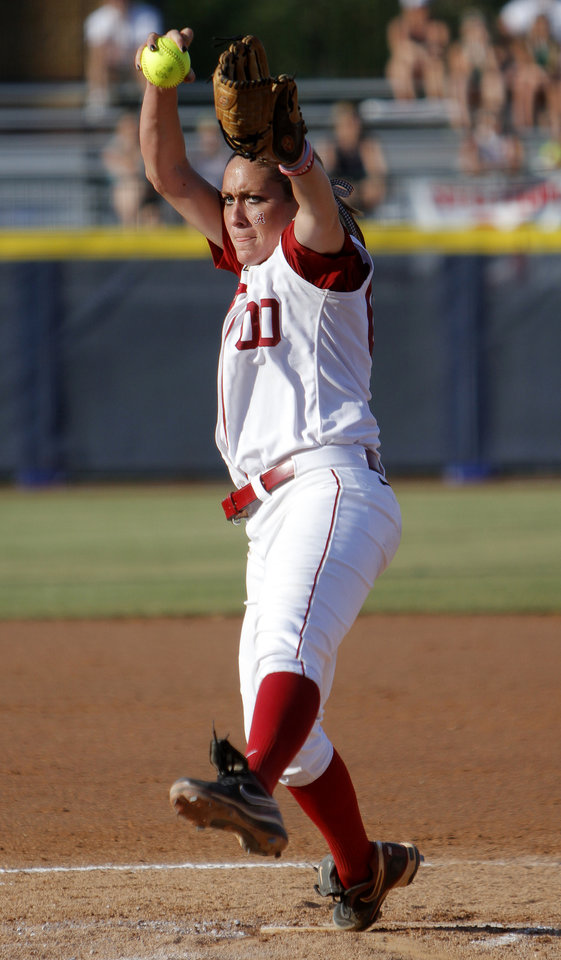 Photo - Alabama's Kelsi Dunne (00) pitches during the Women's College World Series game between Flordia and Alabama at the ASA Hall of Fame Stadium in Oklahoma City, Sunday, June 5, 2011. Photo by Sarah Phipps, The Oklahoman