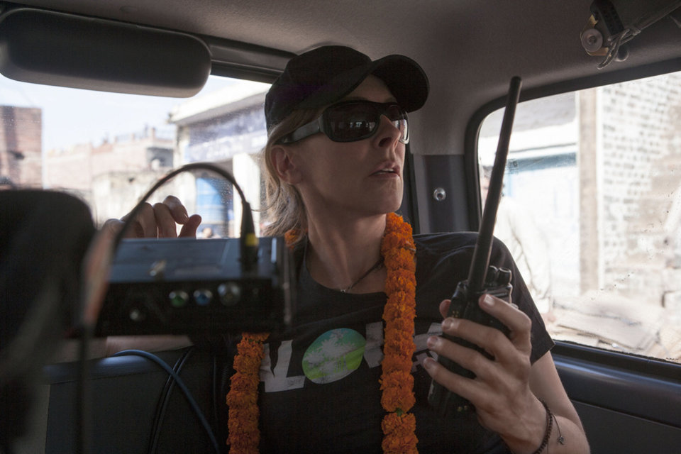 Director Kathryn Bigelow on the set of