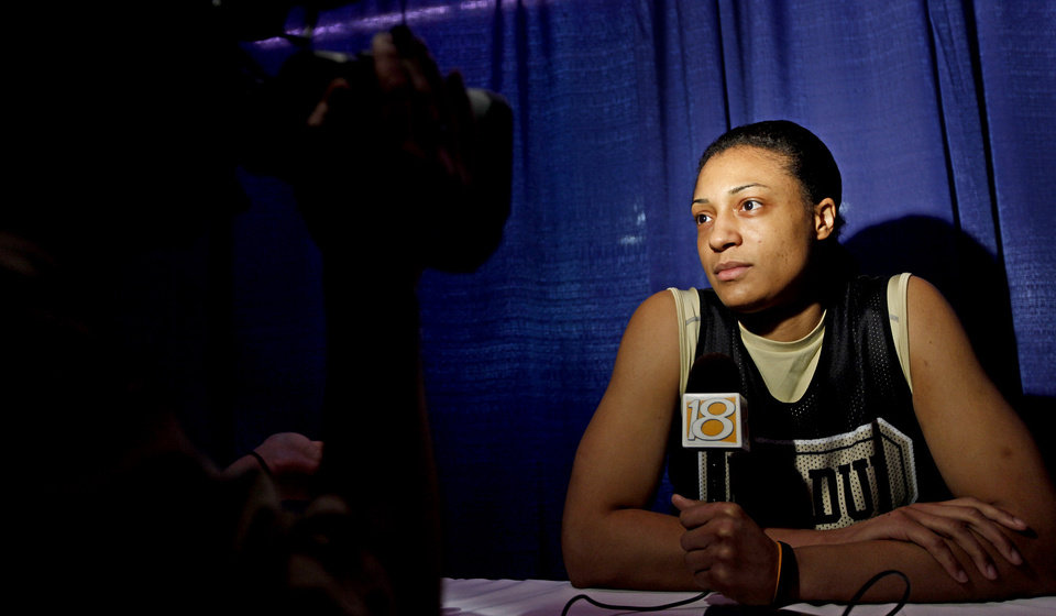 Purdue's Lindsay Wisdom-Hylton talks during a news conference the day before the NCAA women's basketball tournament game between Oklahoma and Purdue at the Ford Center in Oklahoma City, Monday, March 30, 2009.  PHOTO BY BRYAN TERRY, THE OKLAHOMAN