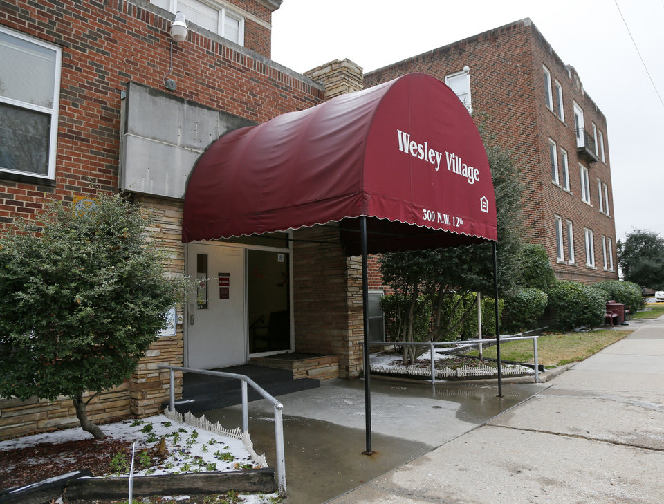 Photo - A recreation of the historic entrance of the former Wesley Hospital is set to be a part of improvements to start in December at Wesley Retirement Village, 300 NW 12.  NATE BILLINGS