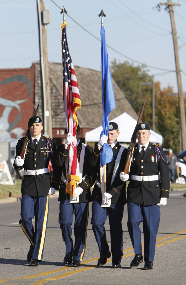 A color guard leads the University of Central Oklahoma's homecoming parade in Edmond, OK, Saturday, November 3, 2012,  By Paul Hellstern, The Oklahoman