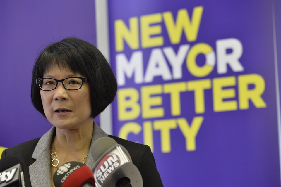 Photo - Toronto Mayoral candidate Olivia Chow talks about allegations regarding mayor Rob Ford during a news conference in Toronto on Thursday May 1, 2014.  Confronted with reports of a recent video showing him allegedly smoking crack cocaine, an audio recording of the mayor drunk, spewing profanities and making lewd comments about a fellow mayoral contender, and witness accounts of him snorting cocaine at a city nightclub, Rob Ford said he would be seeking