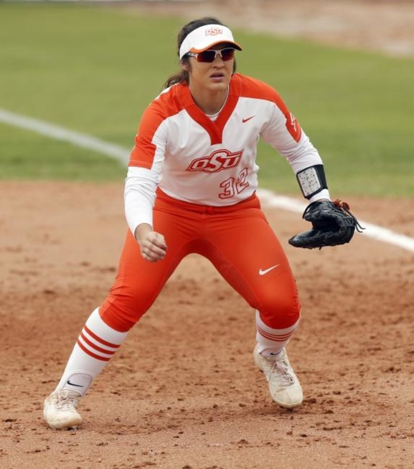 Photo -  Oklahoma State's Michaela Richbourg (32) from Broken Bow was a big find for Cowgirls' softball. [Nate Billings/The Oklahoman]