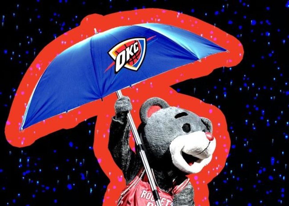 "Photo -  Thunder vice president Marc St. Yves says ""we never proved it, but the Rockets were staying in our hotel, and we think the Rockets were stealing our umbrellas."" [OKLAHOMAN PHOTO ILLUSTRATION]"