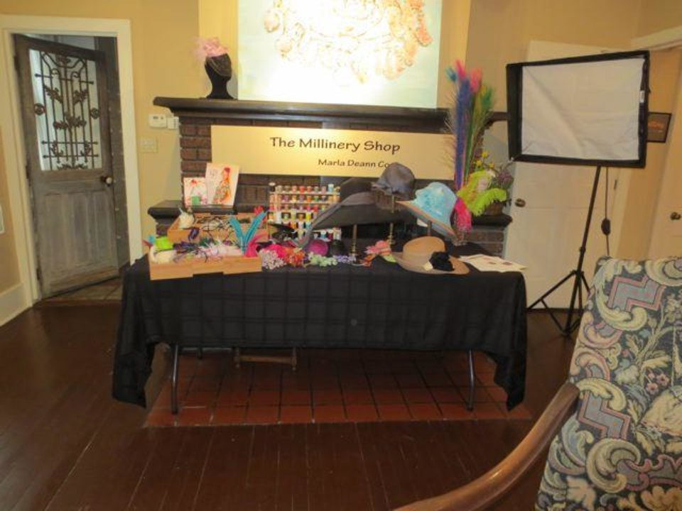 Some of the hat trims at The Millinery Shop staffed by Marla Deann Cook, Milliner. (Photo by Helen Ford Wallace).